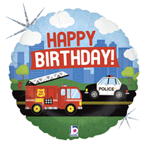 "Birthday Police & Fire 18"" Foil Balloon"
