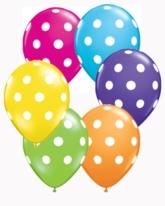 """Tropical Asst'd Polka Dot 5"""" Latex Balloons 100pk"""