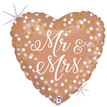 Holographic Rose Gold Mr & Mrs Heart Foil Balloon