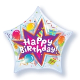 Happy Birthday Star Shaped Bubble Balloon 22""