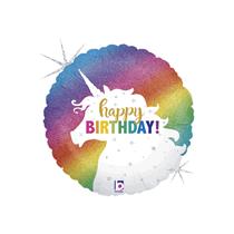 """Glitter Unicorn Birthday 18"""" Holo Foil Balloon"""