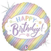 "Pastel Stripes Happy Birthday 18"" Foil Balloon"