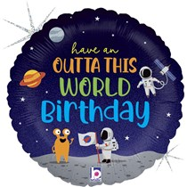 "Outta This World Space Birthday 18"" Foil Balloon"