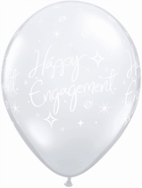 "Diamond Clear Engagement Elegant Sparkles 11"" Latex Balloons 25pk"