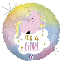"It's A Girl Pastel Unicorn 18"" Foil Balloon"