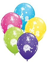 Asstd Colour Jungle Animals Latex Balloons 25pk