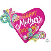 "Mother's Day 32"" SuperShape Paisley Heart Foil Balloon"