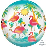 "Flamingo Orbz 15"" Foil Balloon"