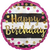 "Pink & Gold Happy Birthday 18"" Foil Balloon"