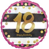 "Pink & Gold 18th Birthday 18"" Foil Balloon"