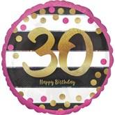 "Pink & Gold 30th Birthday 18"" Foil Balloon"