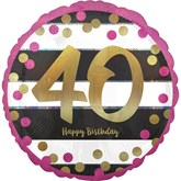 "Pink & Gold 40th Birthday 18"" Foil Balloon"