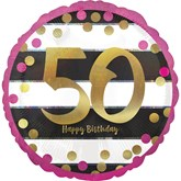 "Pink & Gold 50th Birthday 18"" Foil Balloon"