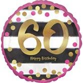 "Pink & Gold 60th Birthday 18"" Foil Balloon"