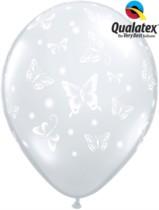"""Diamond Clear Butterflies 11"""" Latex Balloons 50pk"""