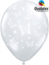 "Diamond Clear Butterflies 11"" Latex Balloons 50pk"