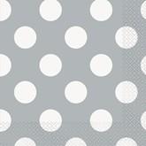 Silver Polka Dots Luncheon Napkins 16pk