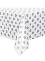 Silver Polka Dots Plastic Rectangular Tablecover