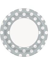 "Silver Polka Dots 9"" Paper Plates 8pk"