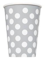 Silver Polka Dots 12oz Paper Cups 6pk