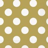 Gold Polka Dots Luncheon Napkins 16pk