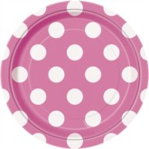 """Pink Dots 7"""" Round Paper Plates 8pk"""