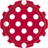 """Red Dots 7"""" Round Paper Plates 8pk"""