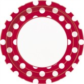 """Red Dots 9"""" Round Paper Plates 8pk"""