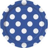 "Blue Dots 7"" Round Paper Plates 8pk"