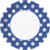 """Blue Decorative Dots 9"""" Round Paper Plates 8pk"""