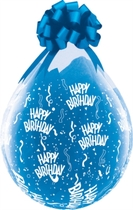 "Happy Birthday 18"" Clear Latex Stuffing Balloons 25pk"