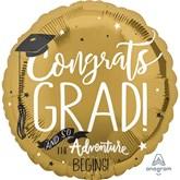 """Congrats Grad Adventure Begins 18"""" Foil Balloon"""