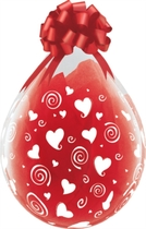 "Swirling Hearts 18"" Clear Latex Stuffing Balloons 25pk"