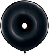"16"" Onyx Black GEO Donut Latex Balloons 25pk"