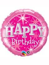 "18"" Happy Birthday Pink Stars Foil Balloon"