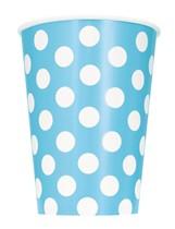 Light Powder Blue Dots 12oz Paper Cups 6pk