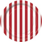 "Red Stripes 7"" Round Paper Plates 8pk"