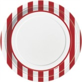 "Red Stripes 9"" Round Paper Plates 8pk"