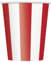 Red Stripes 12oz Large Paper Cups 6pk