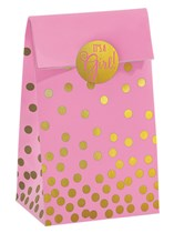 It's a Girl Pink Foil Stamped Paper Bags & Stickers 20pk
