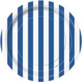 "Blue Stripes 7"" Round Paper Plates 8pk"
