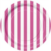 "Pink Stripes 7"" Round Paper Plates 8pk"