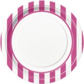 "Pink Stripes 9"" Round Paper Plates 8pk"