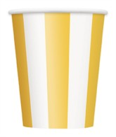 Yellow Stripes 12oz Large Paper Cups 6pk