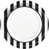 "Black Stripes 9"" Round Paper Plates 8pk"