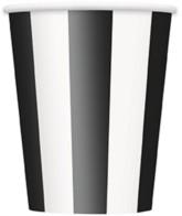 Black Stripes 12oz Large Paper Cups 6pk
