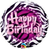 "18"" Happy Birthday Purple Zebra Foil Balloon"