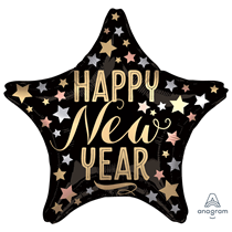 "Satin Luxe Star Happy New Year 18"" Foil Balloon"