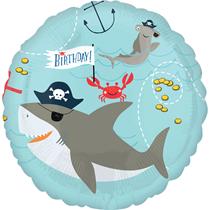 """Pirate Birthday Shark & Octopus 18"""" Foil Balloon"""