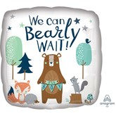 """Bearly Wait 18"""" Square Foil Balloon"""